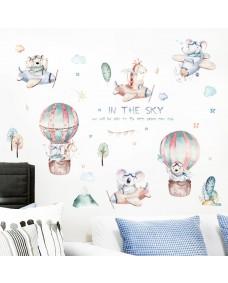 Wallstickers -  Luftsballon, fly og akvareldyr
