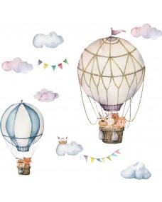 Wallstickers - Luftsballon med ugle