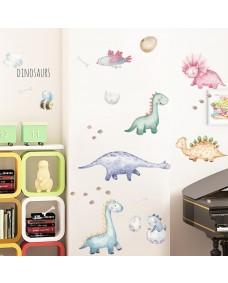 Wallstickers - Søde dinosaurer i akvarel