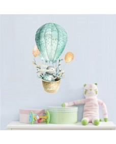 Wallstickers - Kanin med blomster i luftballon