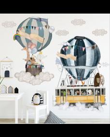 Wallstickers - Luftsballon med dyr