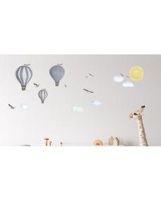 Wallstickers - Eventyrhistorie blå luftballoner