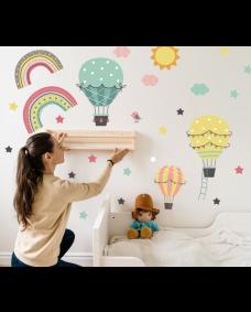 Wallstickers -  Luftballoner og stjerner