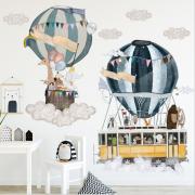Wallstickers - Luftballong med dyr