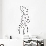WALLSTICKERS - Lineart, Pige med en hat