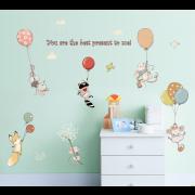 Wallstickers - Små dyr med balloner